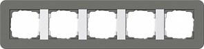 Gira серия E3 Темно-серый/белый глянцевый Рамка 5-ая