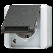 JUNG WG800 Розетка 2Р+З, н/у, серый IP44