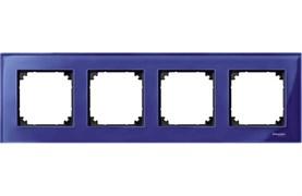 Рамка 4-ая (четверная), Schneider Electric, Серия MERTEN, Стекло Сапфир