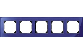 Рамка 5-ая (пятерная), Schneider Electric, Серия MERTEN, Стекло Сапфир