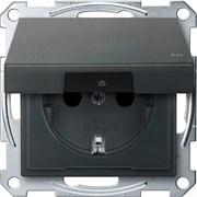 Розетка 1-ая электрическая , с заземлением, крышкой IР44, влагозащищенная, Merten, Антрацит