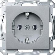 Розетка 1-ая электрическая , с заземлением (безвинтовой зажим), Merten, Алюминий