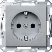 Розетка 1-ая электрическая , с заземлением и защитными шторками (безвинтовой зажим), Merten, Алюминий