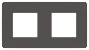 Рамка 2-ая (двойная), Schneider Electric, Серия Unica Studio, Дымчато-серый/Антрацит