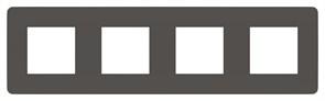 Рамка 4-ая (четверная), Schneider Electric, Серия Unica Studio, Дымчато-серый/Антрацит