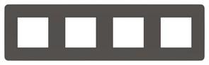 Рамка 4-ая (четверная), Schneider Electric, Серия Unica Studio, Дымчато-серый/Белый