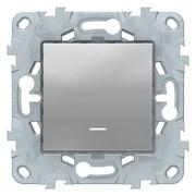 Выключатель 1-клавишный ,проходной с подсветкой (с двух мест), Schneider Electric, Серия Unica New, Алюминий