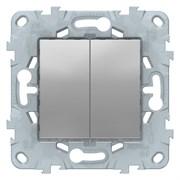 Выключатель 2-клавишный проходной (с двух мест), Schneider Electric, Серия Unica New, Алюминий