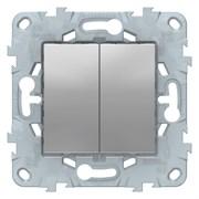 Выключатель 2-клавишный, перекрестный (с трех мест, Schneider Electric, Серия Unica New, Алюминий