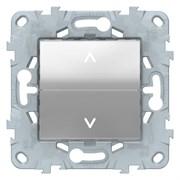 Выключатель для жалюзи (рольставней) кнопочный, Schneider Electric, Серия Unica New, Алюминий