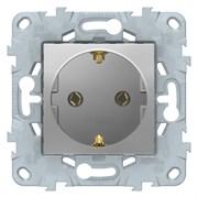 Розетка 1-ая электрическая , с заземлением (безвинтовой зажим), Schneider Electric, Серия Unica New, Алюминий