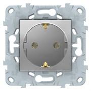 Розетка 1-ая электрическая , с заземлением (винтовой зажим), Schneider Electric, Серия Unica New, Алюминий