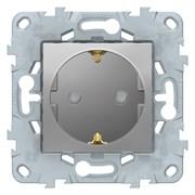 Розетка 1-ая электрическая , с заземлением и защитными шторками (винтовой зажим), Schneider Electric, Серия Unica New, Алюминий