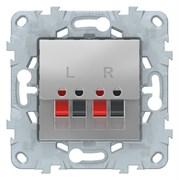 Розетка аудио для колонок 1-ая, Schneider Electric, Серия Unica New, Алюминий