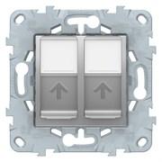 Розетка компьютерная 2-ая кат.5е, RJ-45 (интернет), Schneider Electric, Серия Unica New, Алюминий
