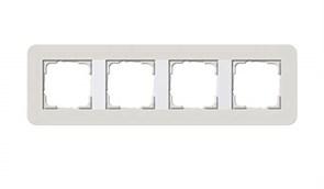 Gira серия E3 Светло-серый/белый глянцевый Рамка 4-ая 0214411