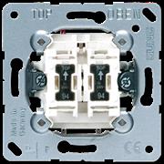 Механизм выключателя двухклавишного с подсветкой, 10 А / 250 В Jung A500 Белый 505u5