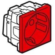 Розетка Mosaic с заземлением с механической блокировкой, красная
