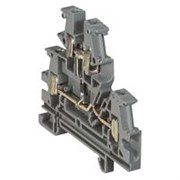 Винтовая клемма Viking 3 - многофункциональная - двухполюсная - двухъярусная - с диодом - шаг 6 мм - серый