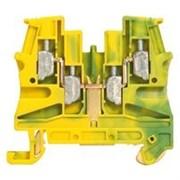 Винтовая клемма Viking 3 - заземляющая - однополюсная - 2 входа/2 выхода - мет. основание - шаг 6 мм - желто-зеленый