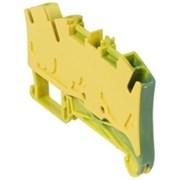 Пружинная клемма Viking 3 - заземляющая - однополюсная - 3 проводника - шаг 6 мм - желто-зеленый (37211)