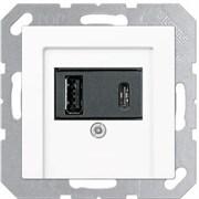 USB розетка для зарядки мобильных устройств тип А и USB тип С макс.3000 мА, белый