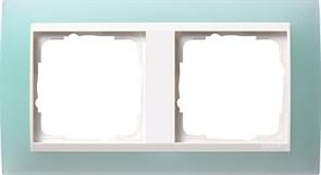 Рамка 2-пост для центральных вставок белого цвета, Gira Event Матовый салатовый