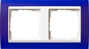 Рамка 2-пост для центральных вставок белого цвета, Gira Event Синий