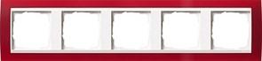 Рамка 5-пост для центральных вставок белого цвета, Gira Event Красный