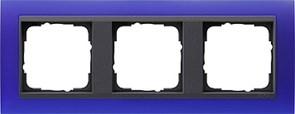 Рамка 3-поста для центральных вставок антацит, Gira Event Синий