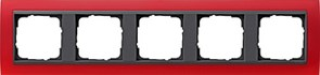 Рамка 5-постов для центральных вставок антацит, Gira Event Красный