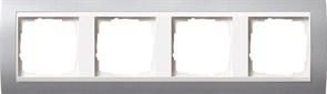 Рамка 4-поста для центральных вставок белого цвета, Gira Event Алюминий