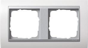 """Рамка 2-поста для центральных вставок """"алюминий"""", Gira Event Белый"""