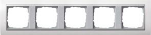 """Рамка 5-постов для центральных вставок """"алюминий"""", Gira Event Белый"""