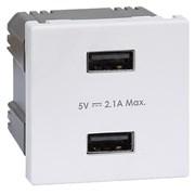 Simon Connect Белый Зарядное устройство 2хUSB, К45, 5 В, 2,1А (K126E-9)