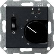 Терморегулятор теплого пола, механический, матовый черный (AFTR231PLANM+FTR231U)