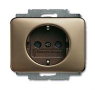 Розетка SCHUKO 16А 250В с защитными шторками, ABB alpha цвет бронза