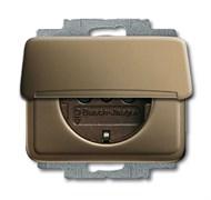 Розетка SCHUKO 16А 250В с крышкой, ABB alpha цвет коричневый