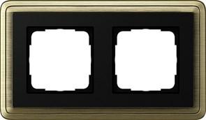Рамка Gira ClassiX двухместная Бронза-Чёрный 0212622