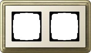 Рамка Gira ClassiX двухместная Бронза-кремовый 0212623