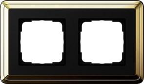Рамка Gira ClassiX двухместная Латунь-Чёрный 0212632