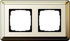 Рамка Gira ClassiX двухместная Латунь-кремовый 0212633