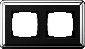 Рамка Gira ClassiX двухместная Хром-Чёрный 0212642