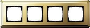 Рамка Gira ClassiX четырехместная Латунь 0214631