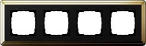 Рамка Gira ClassiX четырехместная Латунь-Чёрный 0214632