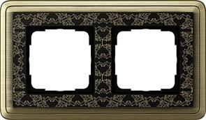 Рамка Gira ClassiX Art двухместная Бронза-Чёрный 0212662