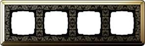 Рамка Gira ClassiX Art четырехместная Латунь-Чёрный 0214672