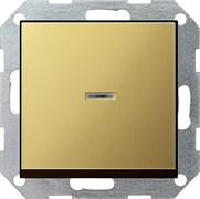 Выключатель с подсветкой с самовозвратом 10 А / 250 В~ в сборе Gira System 55 Латунь 0136604