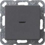Выключатель с подсветкой с самовозвратом проходной в сборе Антрацит (012228)