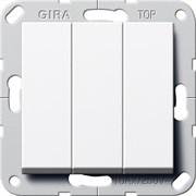 Выключатель Gira самовозвратом 3-клавишный Белый Глянцевый (284403)